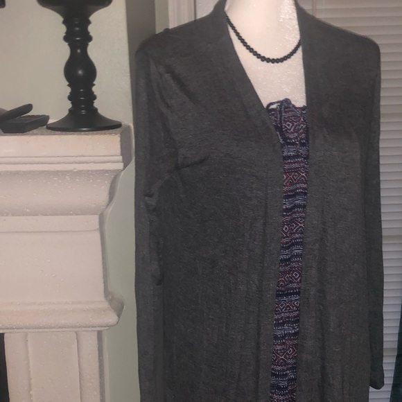 ELLEN TRACY DRAPED OPEN FRONT DUSTER CARDIGAN SWEATER OATMEAL  S,M,L,XL,XXL  NEW